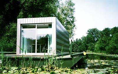 As living facility on a houseboat with maritime approved materials