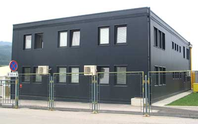 Container office complex with external cladding